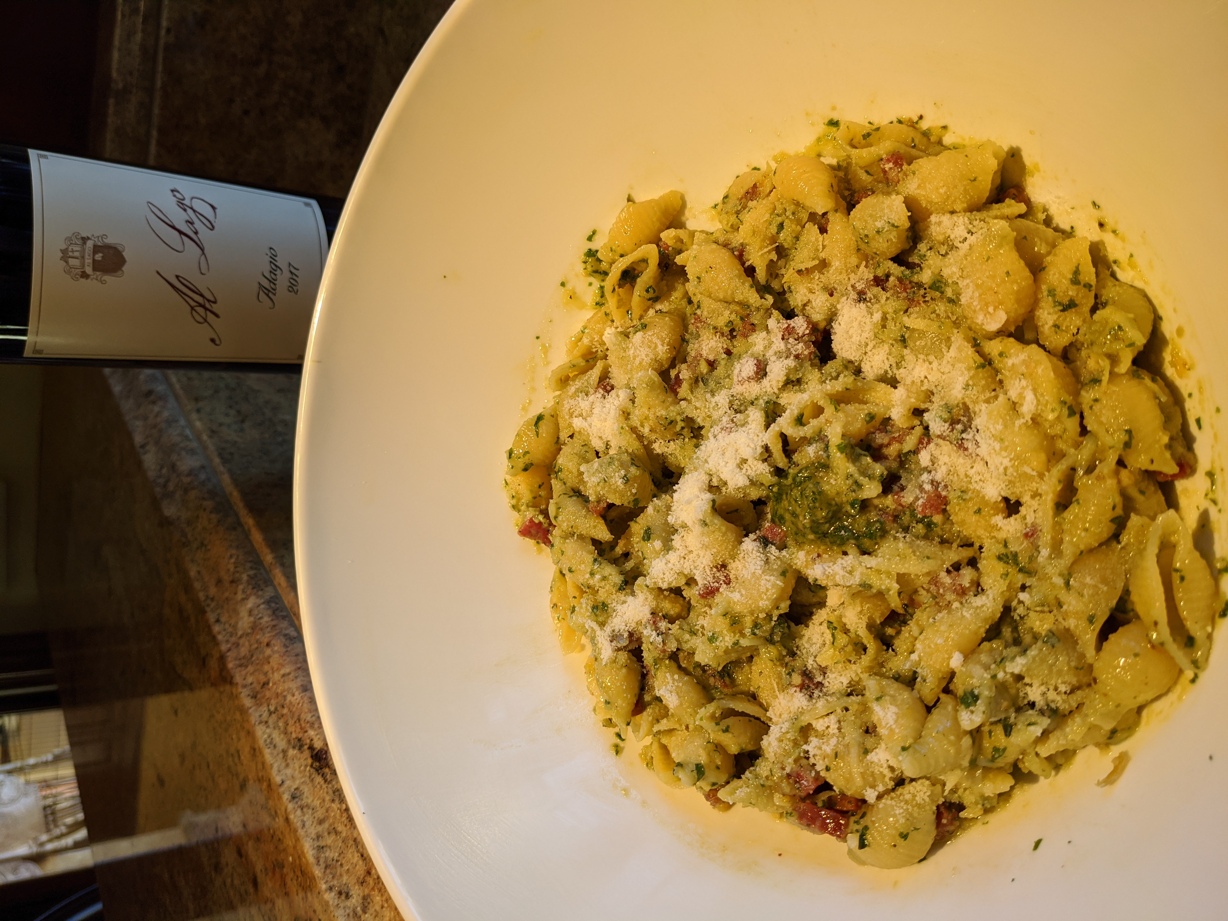 Pasta with Pesto Sauce and Sautéed Salami recipe image