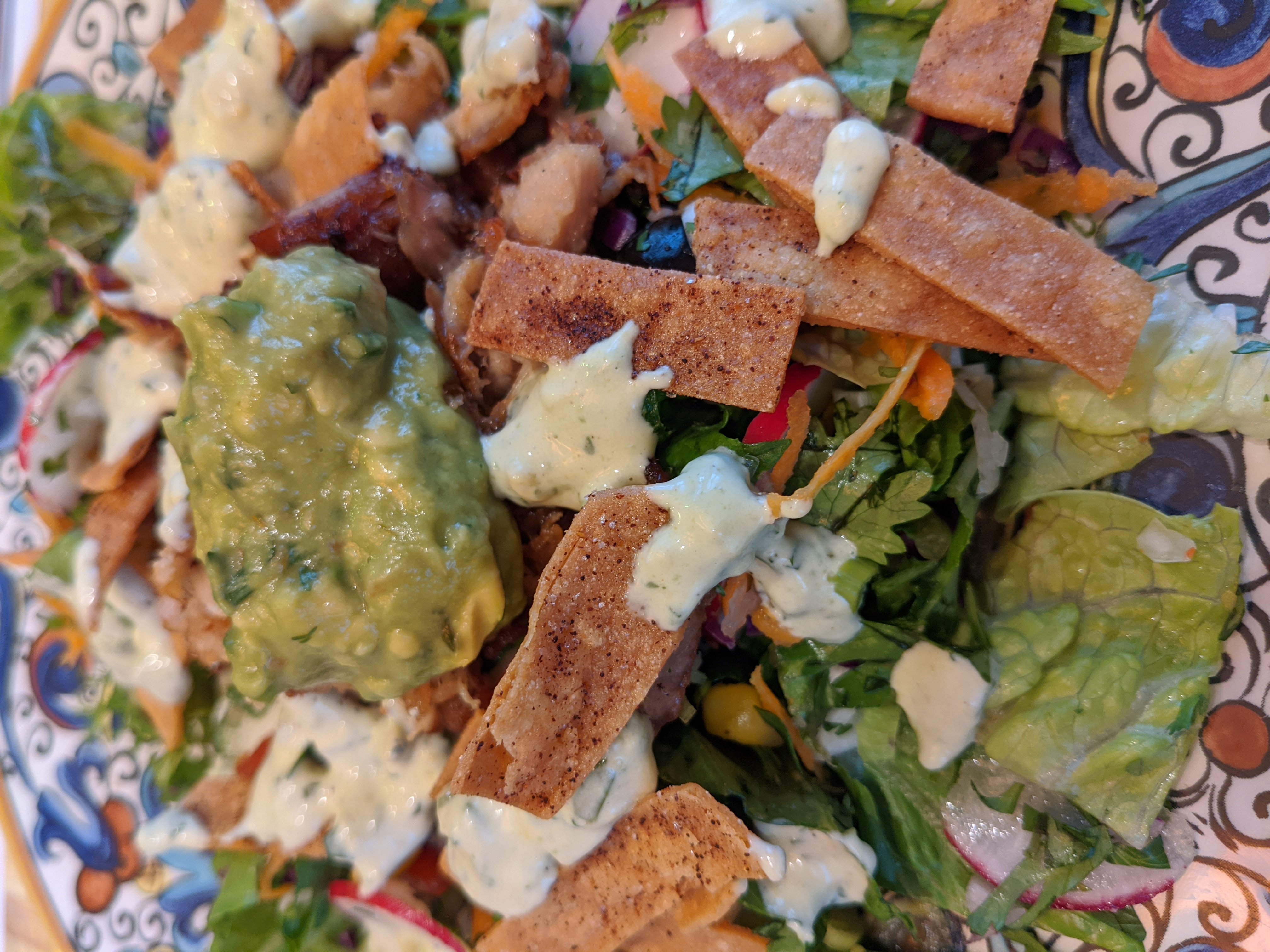 Ranch Salad Dressing with Avocado and Cilantro on a Taco Salad with Carnitas (optional) recipe image