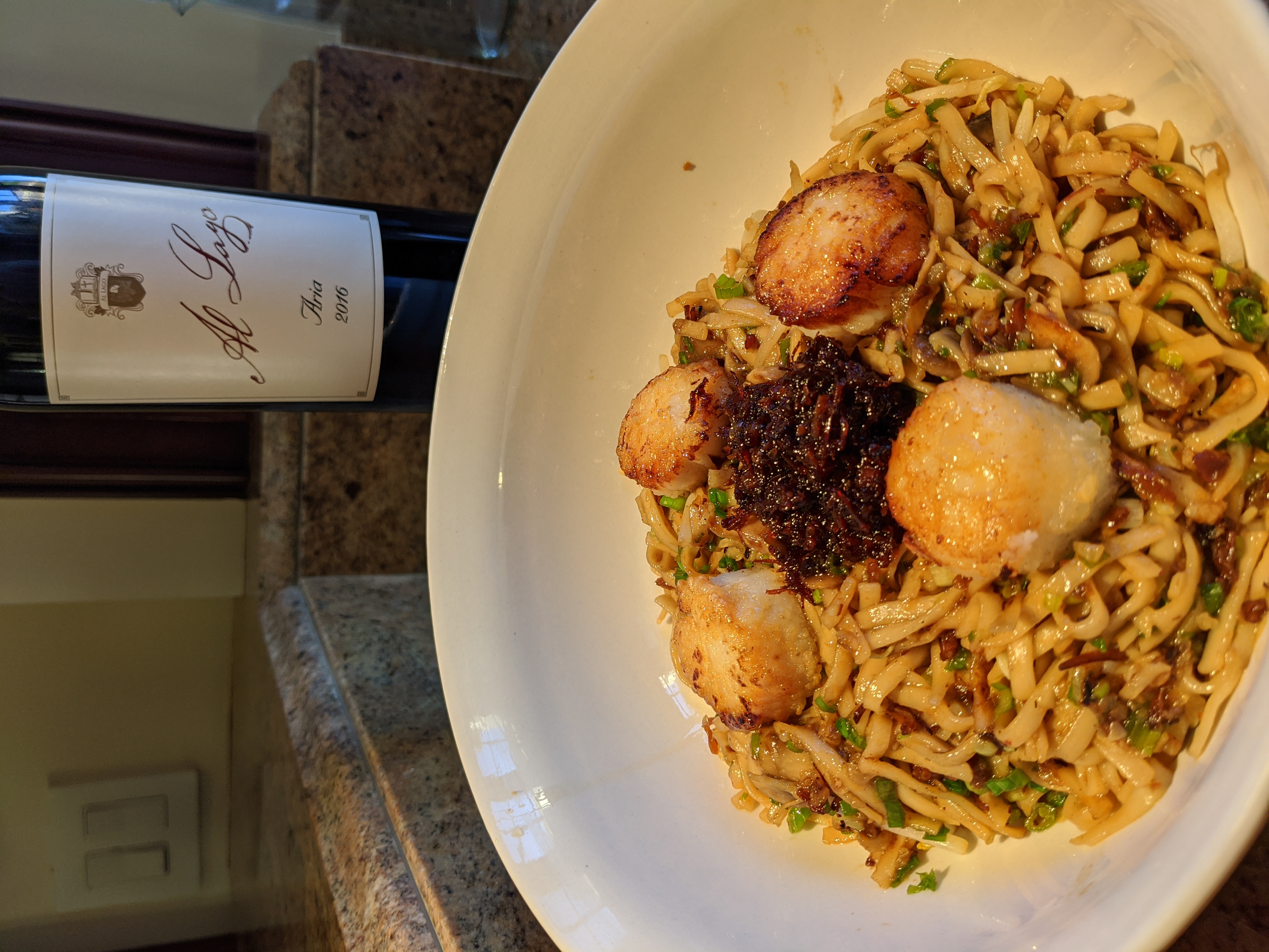 Chinese Noodles with Scallops and XO Sauce recipe image